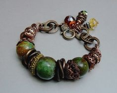 SALE  Majesty Crystal Charm Bracelet with Copper by pmdesigns09, $72.00