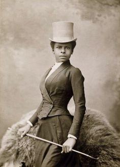 "edwardianpromenade: ""Black woman in a riding habit ca. 1887 carolathhabsburg: "" Beauty in riding habit. Late 1880s. "" """