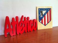 Atletico de madrid escudo y letras de madera. de Planetasierra por DaWanda.com