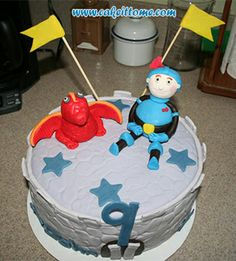 Cake Designs for Kids Birthdays -  Red Dragon and Knight Cake #cakedesigns