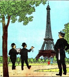 Journal of TINTIN Begian edition No. 5 of March 4, 1948 • the Thompson Twins at the Eiffel Tower in Paris • Tintin, Herge j'aime