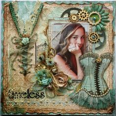Gabrielle Pollacco designed this gorgeous layout using the new Somewhere in Time collection. Love all the beautiful techniques and elements. #BoBunny, #scrapbooklayouts @gabrielle Pollacco