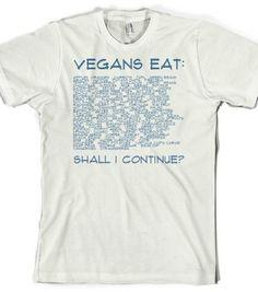 What Do Vegans Eat? - Vegan Shirts - Skreened T-shirts, Organic Shirts, Hoodies, Kids Tees, Baby One-Pieces and Tote Bags                                                                                                                                                                                 Más