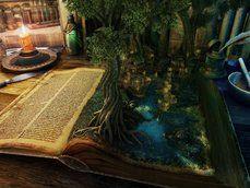 Boek, boom, magie, landschap, huizen, water, kaars, tabel, mes