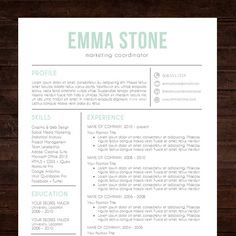 "★ Instant Download ★ Resume Template / CV Template | ""The Emma"" Resume Design in mint blue 