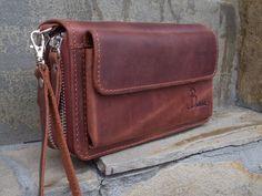 Zip around wallet Leather handbag Cognac Wrist bag Handmade clutch Travel organize Motorists wallet clutch Travel wallet Passport case by Babak1995 on Etsy