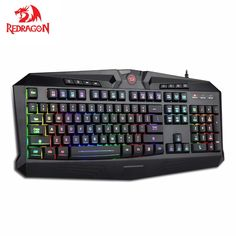 Redragon RGB Gaming Keyboard, RGB Backlit USB Gaming Keyboard with 8 dedicated Multimedia Keys, Total 112 keys, Full Size Keyboard Gaming Headset, Gaming Computer, Computer Keyboard, Computer Technology, Logitech, All In One Pc, Pc Parts, Control Key, Game Black