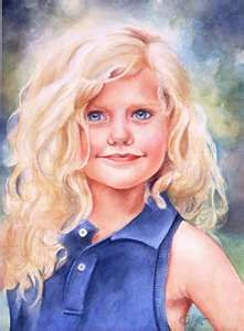 Cheryl Hight, Little Blonde Miss, watercolor portrait