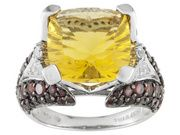 8.10ct Yellow Fluorite, .54ctw White Topaz, 2.23ctw Vermelho Garnet (Tm) Sterling Silver Ring (SYH002)