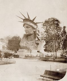 of the Statue of Liberty on display in a park in Paris. Head of the Statue of Liberty on display in a park in Paris.Head of the Statue of Liberty on display in a park in Paris. Rare Pictures, Rare Photos, Old Photos, Vintage Photos, Old Photographs, Iconic Photos, Statues, Liberty Statue, Belle France
