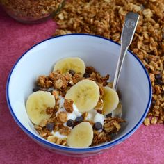 Peanut Butter Chocolate Chip Granola ~ Use it as a topping for Vanilla Greek Yogurt, add some sliced bananas and it makes a healthy, sweet snack!
