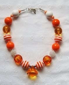 Orange and White Chunky Bubblegum Bead Kids Necklace with Diamond Pendant