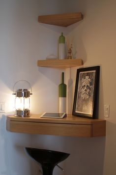Entrancing Floating Corner Shelves Design Idea in Oak Wood with Three Levels Triangle Shape Shelves and One Drawer Idea - Use J/K to navigate to previous and next images