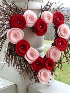 Valentine's Heart Shaped Rustic Wreath with Red and Pink Felt Roses