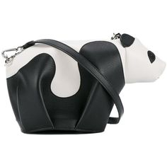 Loewe mini leather panda crossbody bag ($1,290) ❤ liked on Polyvore featuring bags, handbags, shoulder bags, black, leather cross body purse, leather crossbody purses, crossbody shoulder bags, mini purse and mini shoulder bag