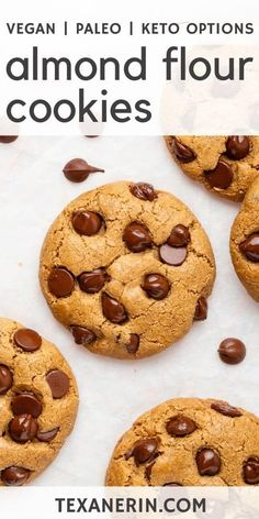 These almond flour chocolate chip cookies have a great chewy texture crisp edges and are paleo with vegan and keto options An amazing healthy almond flour cookies recipe grainfree paleo keto vegan glutenfree cookies almondflour Crispy Chocolate Chip Cookies, Almond Flour Cookies, Healthy Chocolate Chip Cookies, Almond Flour Recipes, Paleo Cookies, Chocolate Chip Oatmeal, Cookie Recipes, Vegan Chocolate Chips, Almond Flour Chocolate Chip Cookie Recipe