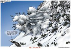 Michael Ramirez Cartoon 01/07/2013 - Avalanche from Debt Entitlements and Obamacare