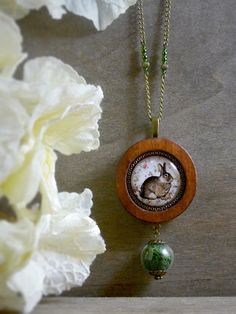 Rabbit necklace Woodland necklace Rustic jewelry by TriccotraShop