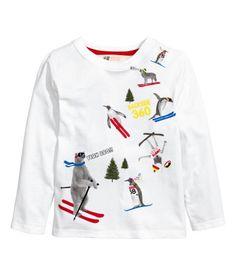 Langarmshirt mit Druck   Weiß   Kinder   H&M DE