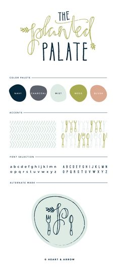 The Planted Palate Brand Board. Not loving the font but the colors are awesome!