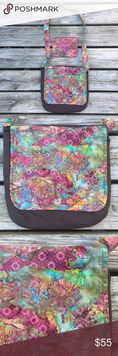 """RAINBOW BOHO HIPPIE MESSENGER CROSSBODY PURSE BAG! Brown / Rainbow Multicolor Colorful Textile Artisan Messenger Crossbody Handbag Tote Purse + Butterfly Butterflies Zip Pouch Wallet // Hippie Boho Handmade Festival Rave Gypsy Tie Tye Dye Watercolor Beach Summer Trippy Psychedelic 