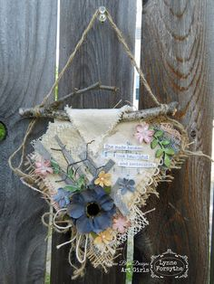 Life's little details.: She Made Broken by Lynne Forsythe Mixed Media Canvas, Mixed Media Art, Fabric Journals, Grapevine Wreath, Altered Art, Grape Vines, Fabric Crafts, Recycling, Diy Projects