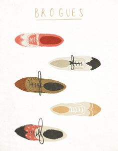 Taryn Knight, brogues, shoes, male, illustration, design, type, lettering, drawing