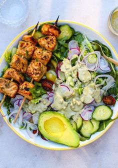 These juicy flavor packed salmon skewers are easy to make and can be served on a bed of salad or with Persian style lentil dill rice! Best Salmon Recipe, Salmon Recipes, Easy Weeknight Dinners, Quick Easy Meals, Salmon Skewers, Dill Salmon, Lean Meals, Dinner Salads, Middle Eastern Recipes