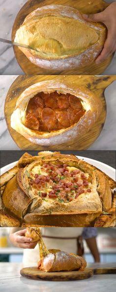 Pão Italiano com Recheio de Pizza #pão #pãoitaliano #comida #culinaria #gastromina #receita #receitas #receitafacil #chef #receitasfaceis #receitasrapidas