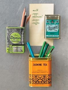 Add magnets to tea tins and place on the fridge (plus other home organization ideas through the link)
