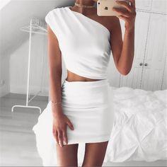 White Bodycon 2pcs Dress