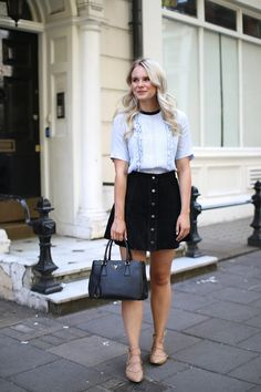 Blouse – H&M (Similar idea here and here) Suede Skirt – – Similar option here, here Handbag – Prada Shoes – Zara (Similar option here,… Prada Handbags, Handbags On Sale, Black Handbags, Suede Skirt, Denim Skirt, Leather Skirt, Blouse H&m, Blue Blouse, Leather Factory