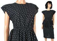 80s Secretary Dress Sz S Vintage Black White Wiggle Pencil Peplum Cocktail Sexy Free US Shipping by HepCatClothes on Etsy