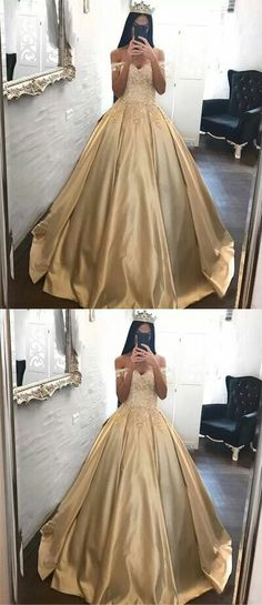 Ball Gown Prom Dress, Ball Gown Prom Dresses Off-the-shoulder Appliques Satin Prom Dress Evening Dress Shop Short, long ball gowns, Prom ballroom dresses & ball skirts Pretty ball gowns, puffy formal ball dresses & gown Gold Prom Dresses, Prom Dresses 2018, Ball Gowns Prom, Ball Dresses, Evening Dresses, Dress Prom, Gold Quinceanera Dresses, Long Dresses, Sweet 16 Dresses Gold