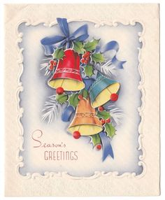 Vintage Greeting Card Christmas Bells Pine Blue Ribbons Grinnell | eBay