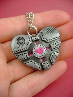 Cube Love - Flat Heart Shaped Companion Cube - Polymer Clay Portal Geekery - Pendant / Necklace