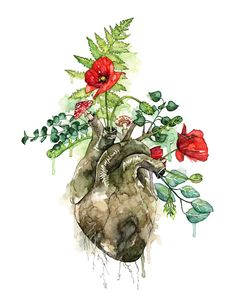 "Watercolor Heart Print - Watercolor Painting titled ""Overgrown"", Botanical, Human Heart, Forest Heart, Anatomical Heart, Watercolor Flowers"