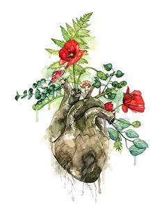 """-Acquerello cuore stampa acquerello dipinto intitolato """"Invaso"""", botanico, cuore umano, foresta cuore, cuore anatomico, fiori dell"""