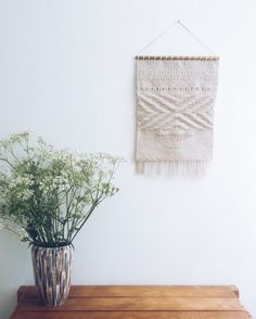 Handwoven tapestry wall hanging by Emilie Folkersen.
