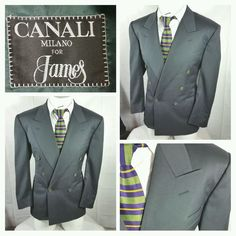 Canali Milano double breasted wool blazer sport coat solid green size 50, 40S #Canali #DoubleBreasted