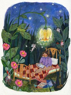 Sanctuary ~ (Inspiration art)  Watercolor, collage, colored pencil.  ©Phoebe Wahl 2014