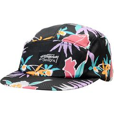 Stüssy Girls Black Hawaiian Print 5 Panel Hat