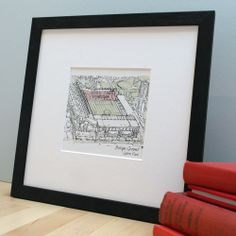 Sports Stadium Bespoke Illustration. For the sport mad out there. Have their favourite team's home ground drawn and personalised with a message.
