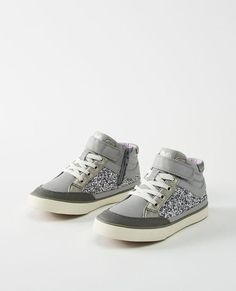 6061947ff618 Hanna Andersson  Teo Glitter High Tops Little Kid Big Kid (Silver)