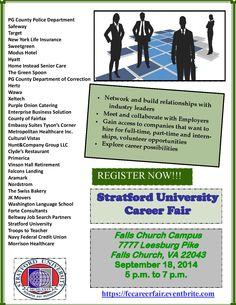 Upcoming Job Fair at Stratford University in Falls Church, VA on Thursday, Sept. 18th.