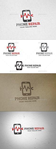 Phone Repair Logo by martinjamez Logo Features100% Vector Color Variations : Gradient, Flat, Greyscale