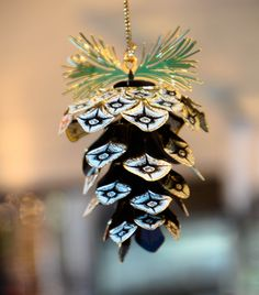 beautiful pinecone ornament handcrafted in the usa by ChemArt