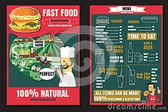 Brochure or poster Restaurant fast foods burger menu with people