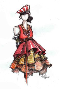 Great fashion sketch - love the design and colour.