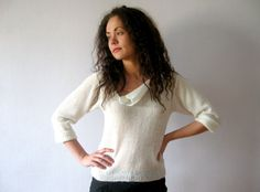 Ivory White Knit Sweater Hand Made Off White by VintageDreamBox